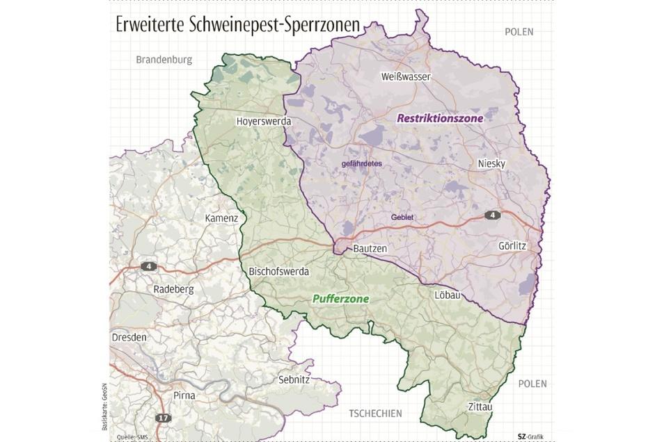 Die Restriktionszone umfasst weite Teile des Landkreises Görlitz, die Pufferzone reicht bis Kamenz. In beiden Gebieten soll die Wildschweinjagd intensiviert werden.