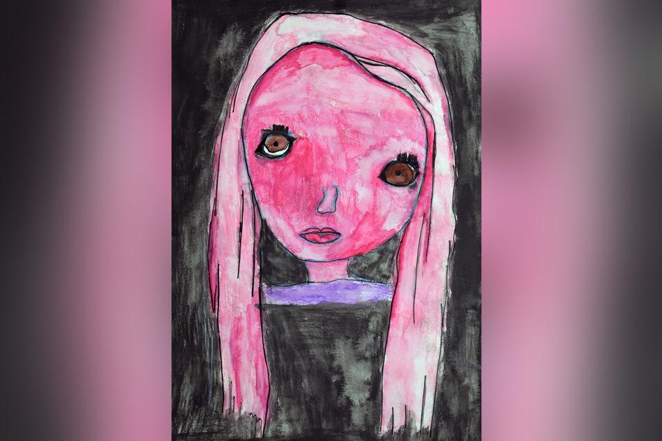 """Ferida Coli nannte ihr Bild """"Ich...in meinen Träumen"""". Vor dem Zeichnen galt es, sich zu beobachten, Blicke, Gefühle, Details. Jeder erkennt seine Einzigartigkeit. Während des Kreativkurses porträtierte sich Ferida."""