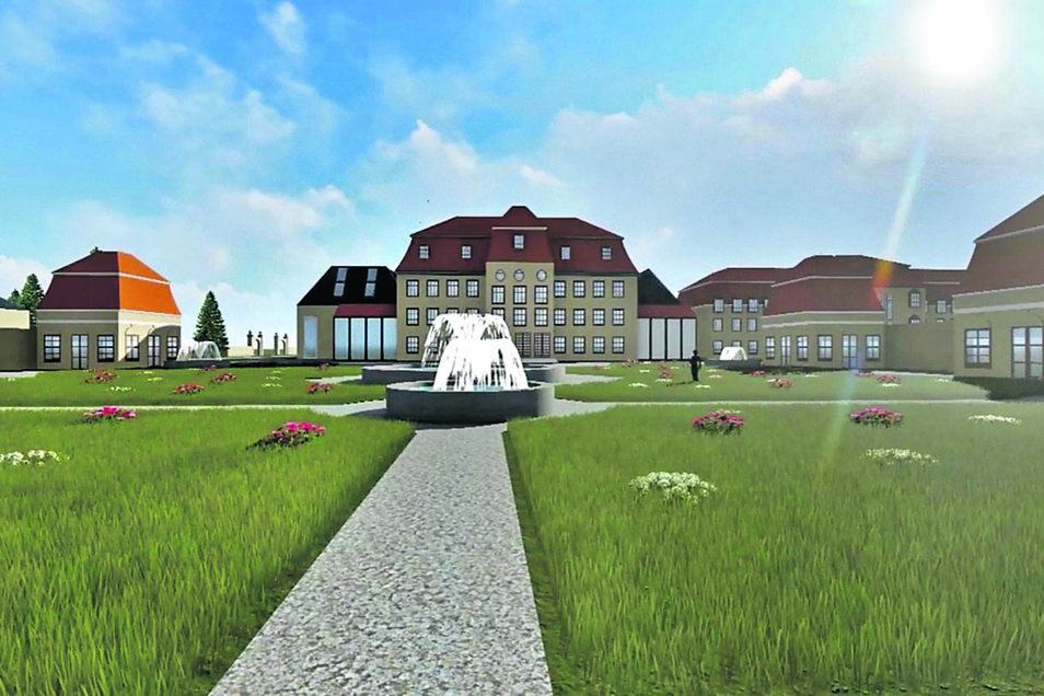 In einem Video von 2017 ist zu sehen, wie das wiederaufgebaute Tiefenauer Schloss einmal als Viersternehotel aussehen könnte. Die große Grafik zeigt den gesamten Umfang des Projekts inklusive Golfplatz und Ferienhäuser.