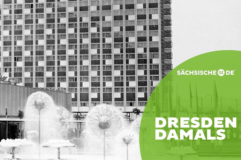 """""""Sie bauen sich selbst ihr Monument"""": Blick über die Prager Straße aufs Hotel """"Newa""""."""