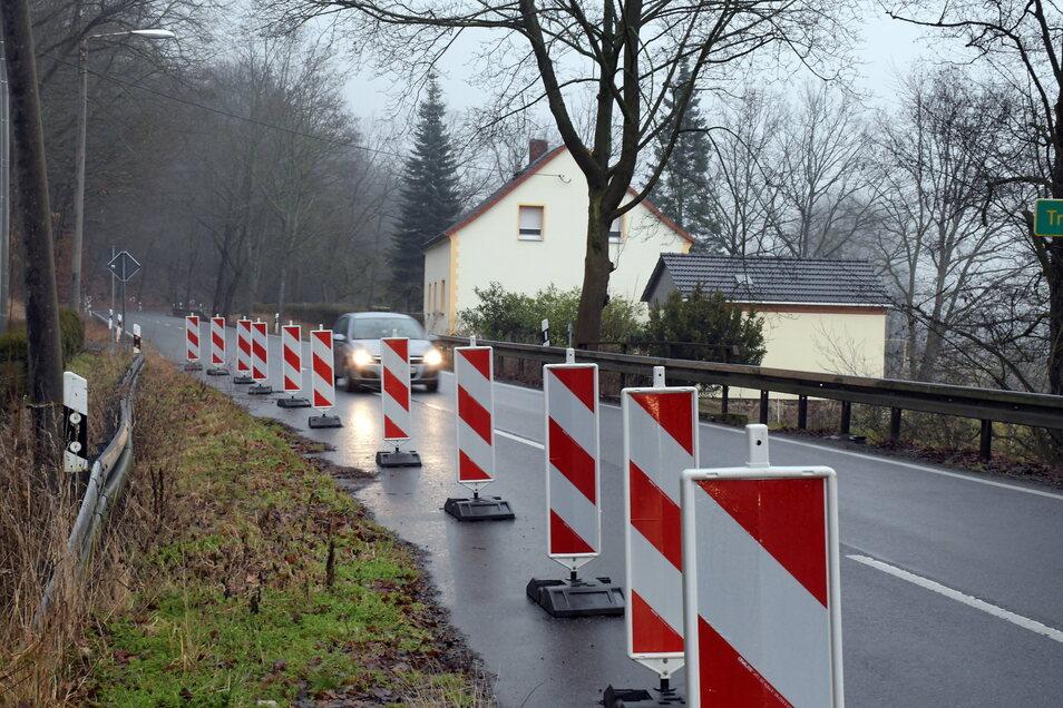 Auf der S34 zwischen Ullrichsberg und Roßwein ist die Fahrbahn seit fast drei Jahren eingeengt.