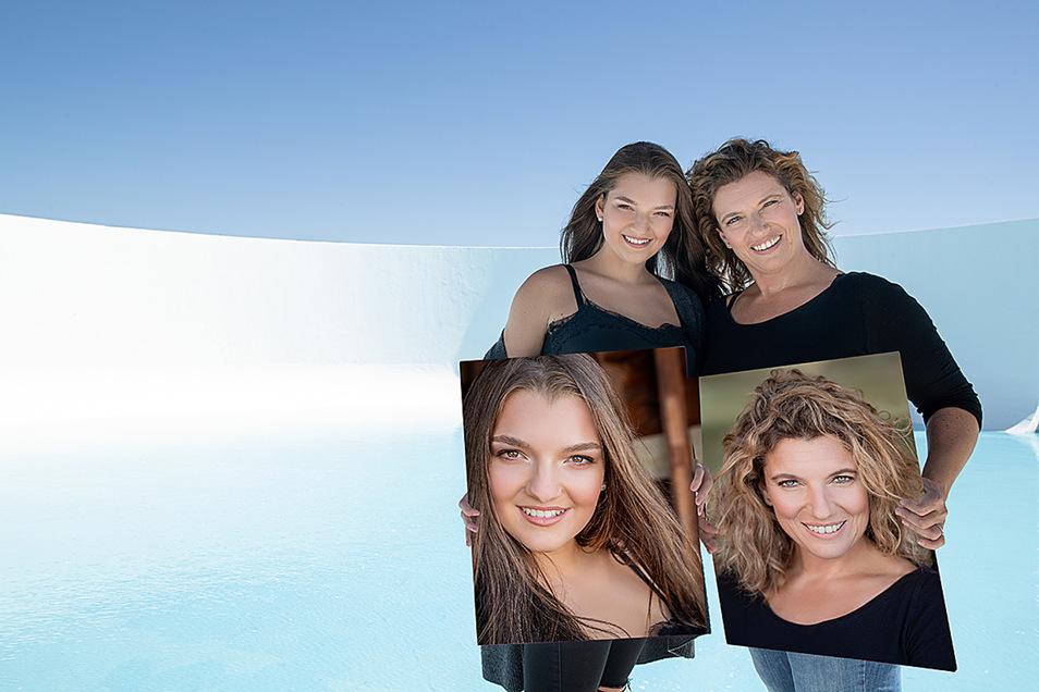 Strahlend schön: Julie (l.) und Anja Krumbholz mit den Fotos ihres Lebens.