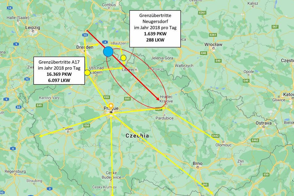 Die BI rechnet damit, dass ein Teil der Laster die gegenwärtig auf den gelben Strecken unterwegs sind und das rot markierte Gebiet versorgen, zur Abkürzung künftig durch Neustadt fahren..