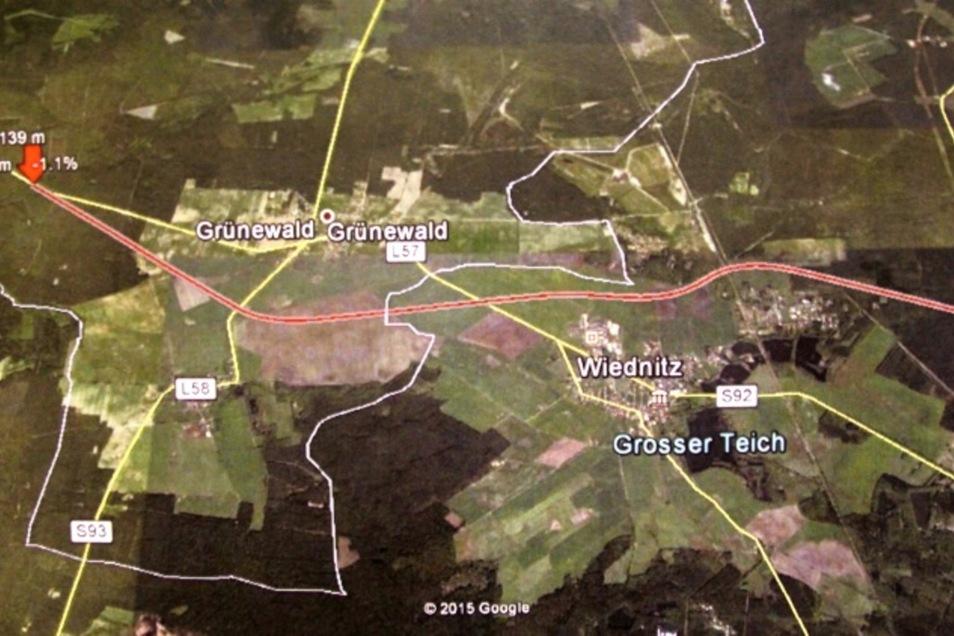 Diese Skizze mit dem möglichen Trassenverlauf einer Umgehungsstraße wurde Anfang 2016 im Wiednitzer Ortschaftsrat vorgelegt und von diesem unverbindlich für gut befunden – obwohl die Strecke zwischen Wiednitz und Heide hindurch führt.