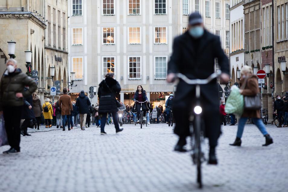 Blick auf den Prinzipalmarkt in Münster. Die Stadt hat derzeit eine der niedrigsten Inzidenzen in Deutschland.