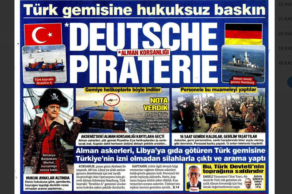 """Titelseite der türkischen Tageszeitung """"Sözcü"""" zur Durchsuchung des türkischen Schiffes durch deutsche Soldaten."""