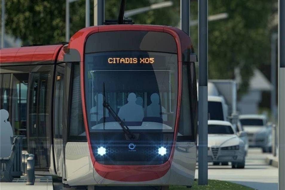 Die Alstom-Straßenbahn Citadis - hier in der 5. Generation - blinzelt mit den Augen, hat mächtige Hamsterbacken und fährt unter anderem in Nizza.
