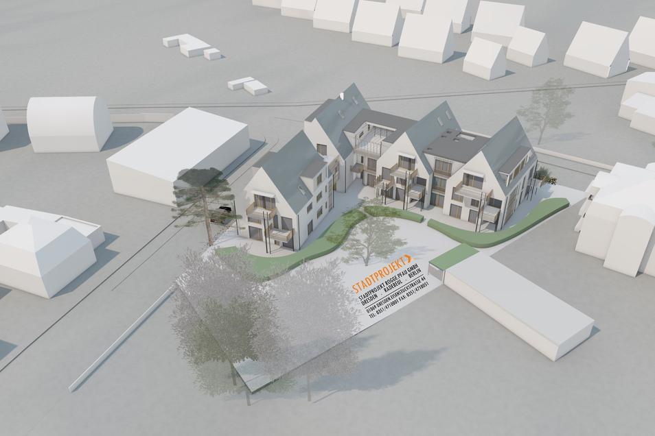 Diese Visualisierung zeigt, wie die vier Hauptgebäude mit den Verbindern auf dem Grundstück stehen.