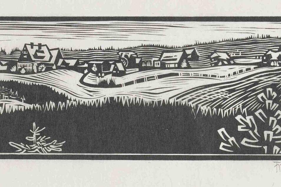 Panorama II, Holzschnitt aufSeidenpapier, 1931, 7,5 x 24,8 cm.