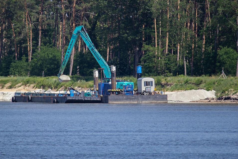 Die Sanierungsarbeiten abseits des Rutschungsbereiches gingen nach kurzer Unterbrechung weiter – wie hier am Ufer zwischen Koblenz und Groß Särchen.