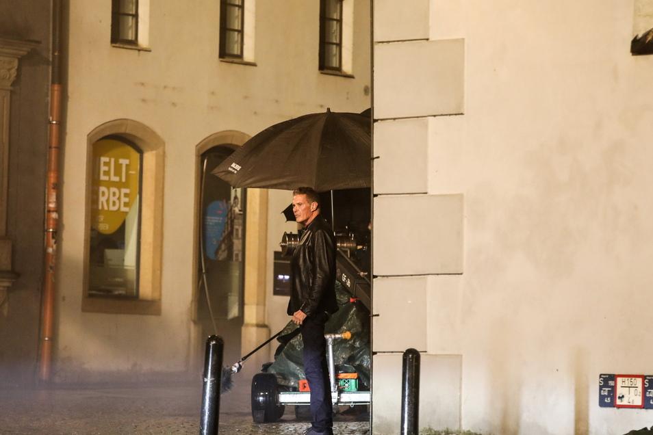 David Hasselhoff beim Dreh am Untermarkt in Görlitz.