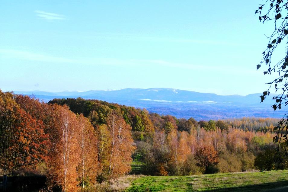 Herbstlicher Blick zum Iser- und Riesengebirge von Jauernick-Buschbach aus.