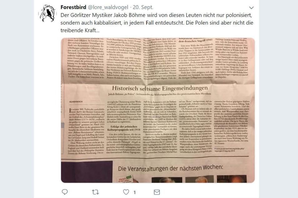 Ein Tweet vom 20. September 2019. Auch die Scheinidentität Lore Waldvogel interessierte sich für den Görlitzer Mystiker Jacob Böhme.