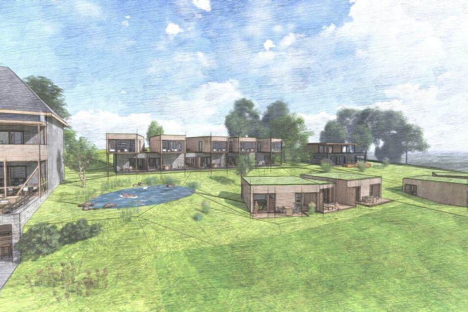 Rechts neben der Wilisch-Baude werden weitere Gebäude entstehen. Hinten rechts ist das geplante Wellness-Haus zu sehen.