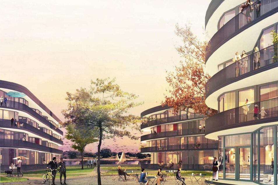 Die Wohnhäuser sollen ein fünftes Geschoss bekommen. Dafür werden die Erdgeschosse etwas niedriger als zunächst geplant.