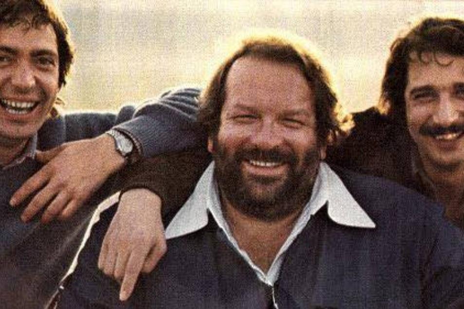 Die De-Angelis-Brüder Guido und Maurizio zusammen mit Filmstar Bud Spencer.