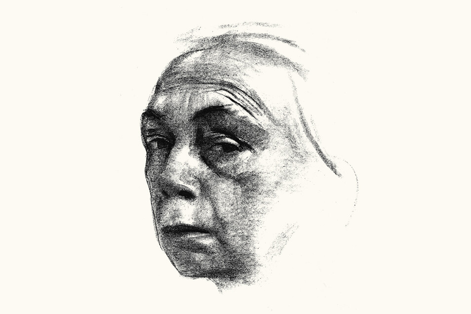 "Käthe Kollwitz, ""Selbstbildnis"", Kreidelithographie, 1924"