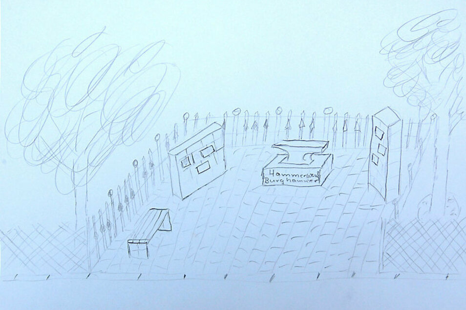 Recht rasch mit Bleistift aufgezeichnet hat Michael Frey eine erste Idee dazu, wie die Erinnerungsstätte einmal aussehen könnte.