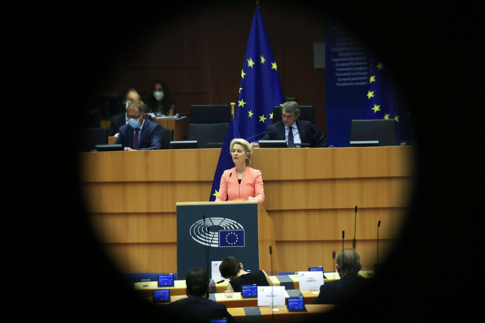 EU-Kommissionspräsidentin Ursula von der Leyen bei ihrer Rede zur Lage der Union.