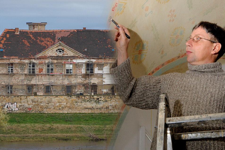 Der gebürtige Dresdner Gunter Preuß leitet die Restaurationsarbeiten am Schloss Promnitz.
