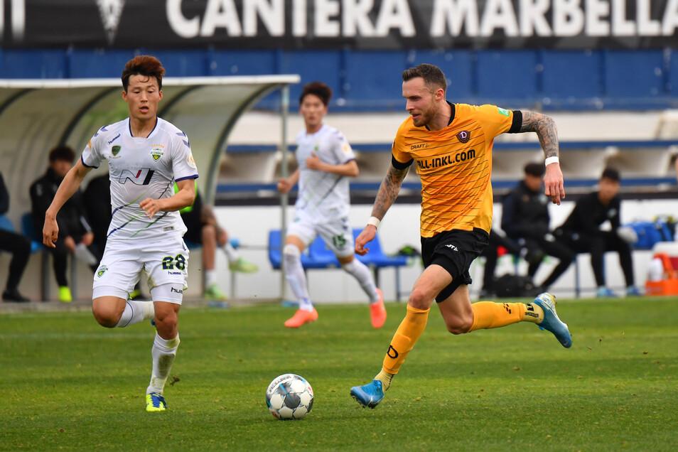 Neuzugang Patrick Schmidt erzielt gegen Jeonbuk seinen ersten Treffer für Dynamo.
