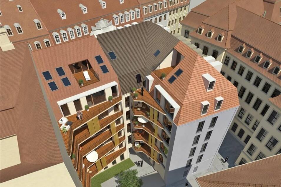 """Blick in den geplanten Innenhof des Eckhauses """"Frieseneck"""" an der Landhausstraße am Neumarkt"""