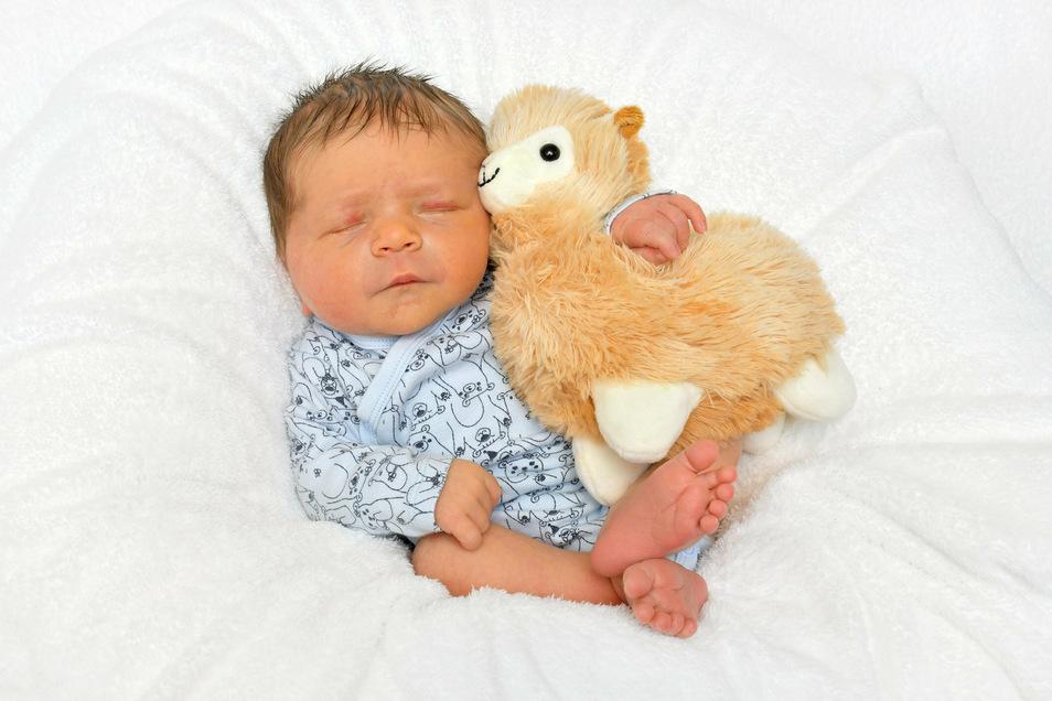 Arvid, geboren am 13. Juli, Geburtsort: Freital, Gewicht: 3.720 Gramm, Größe: 50 Zentimeter, Eltern: Diana und Mario mit Soraya und Leilani, Wohnort: Freital