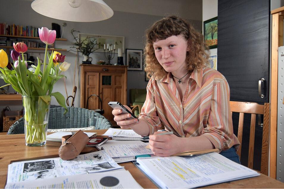 Pia Wittrin lernt - wie viele Schüler derzeit - zu Hause für die Abi-Prüfungen. Am 13. März war voraussichtlich der letzte Schultag. Nach den Osterferien soll die Prüfungsphase beginnen.