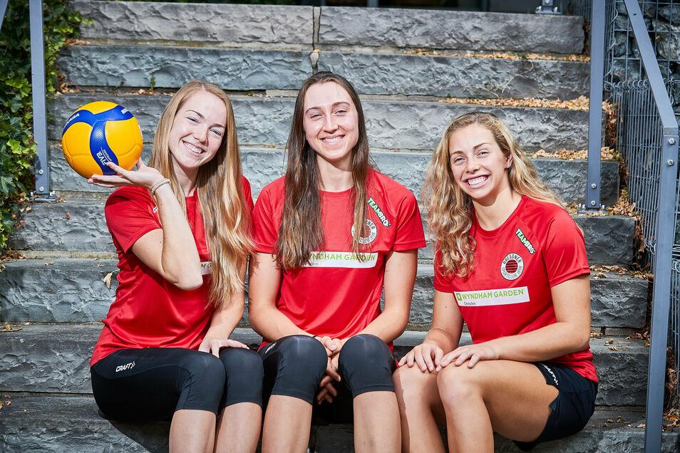Die US-Amerikanerinnen Jenna Gray, Madeleine Gates und Morgan Hentz (von links nach rechts) sollen beim Dresdner SC eine tragende Rolle spielen.