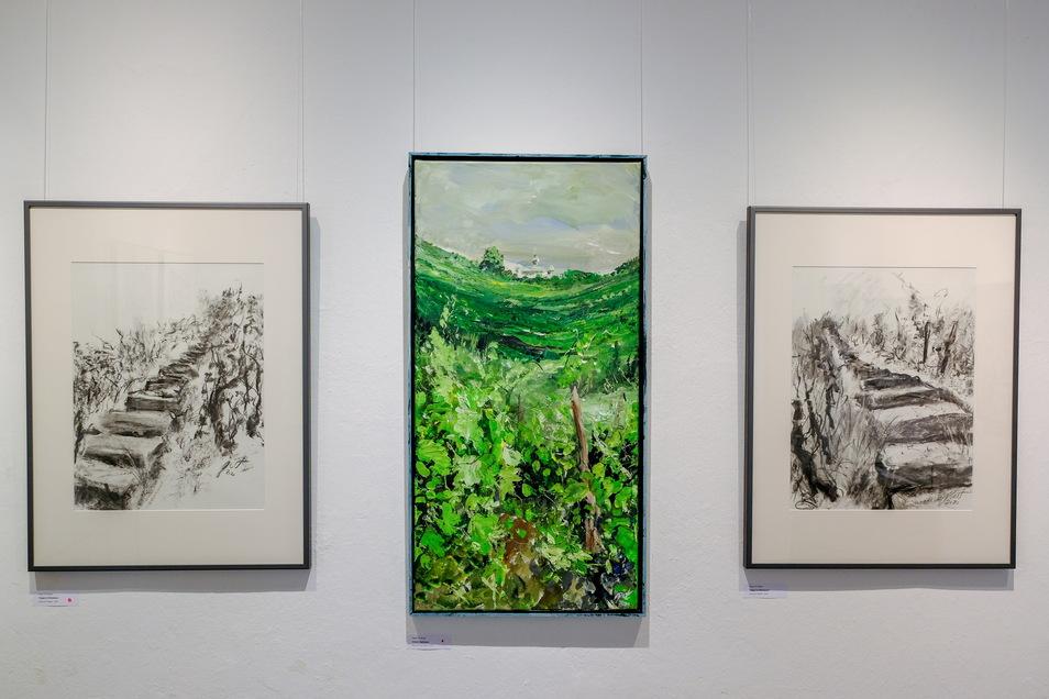 """das mittlere Bild ist von Peter Pit Müller und trägt den Titel """"Unterm Spitzhaus""""."""