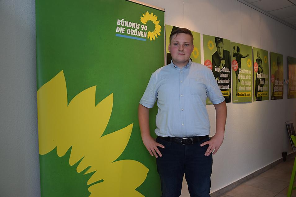 Seinen Wahlkampfauftakt absolvierte der bündnisgrüne Bundestagskandidat Lukas Mosler (24) jetzt im Parteibüro in Hoyerswerda.