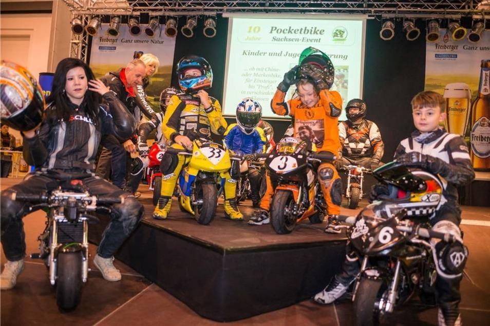 Immer mehr junge Leute begeistern sich für Motorsport. Unter rund 40 Sächsischen Pocket-Bikern wurde auf der Messe der Sieger gekürt.