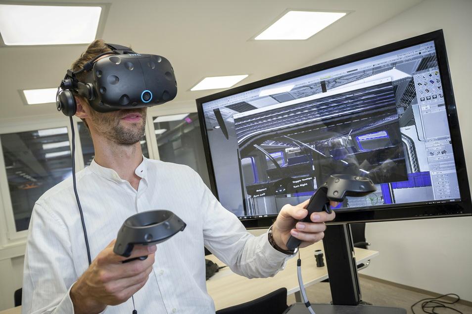 Industrie 4.0: Mit Hilfe von Virtual-Reality-Technik wird im Bautzener Bahnwerk die Inneneinrichtung von Zügen und Straßenbahnen geplant.