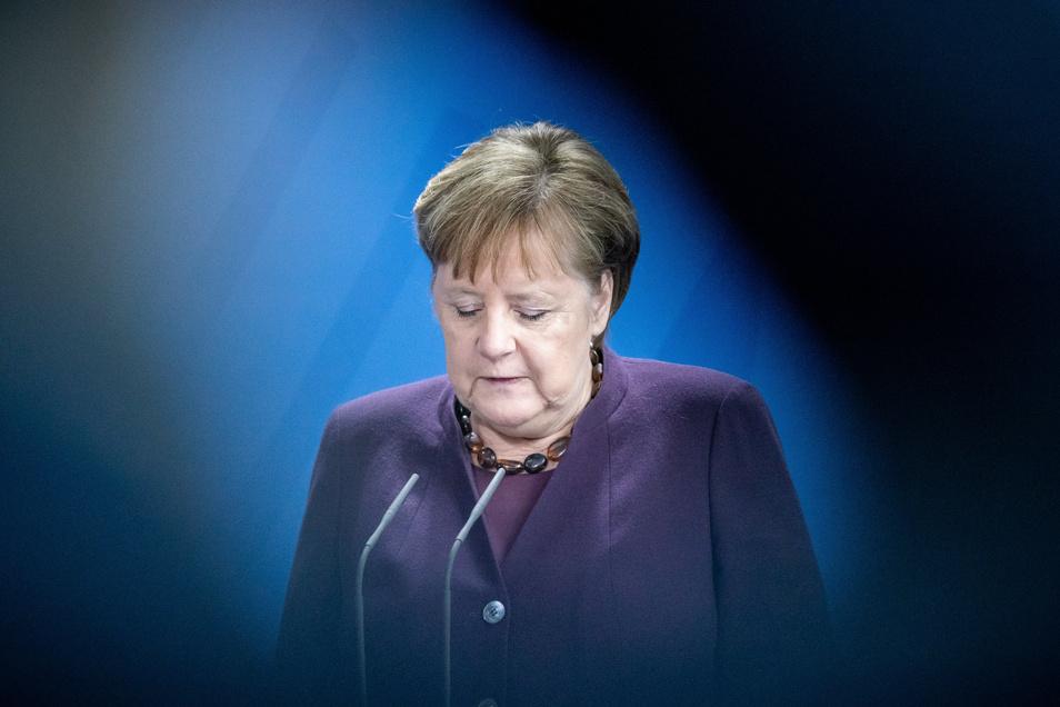 Bundeskanzlerin Angela Merkel (CDU) äußerte sich am Donnerstag im Bundeskanzleramt zum Anschlag in Hanau.