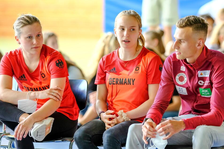 Drei Tokio-Starter: Tina Punzel (l.) und Karl Bebendorf sind lange aus dem Sportgymnasium raus, die Berlinerin Lena Hentschel (M.) baut erst im nächsten Jahr ihr Abitur.