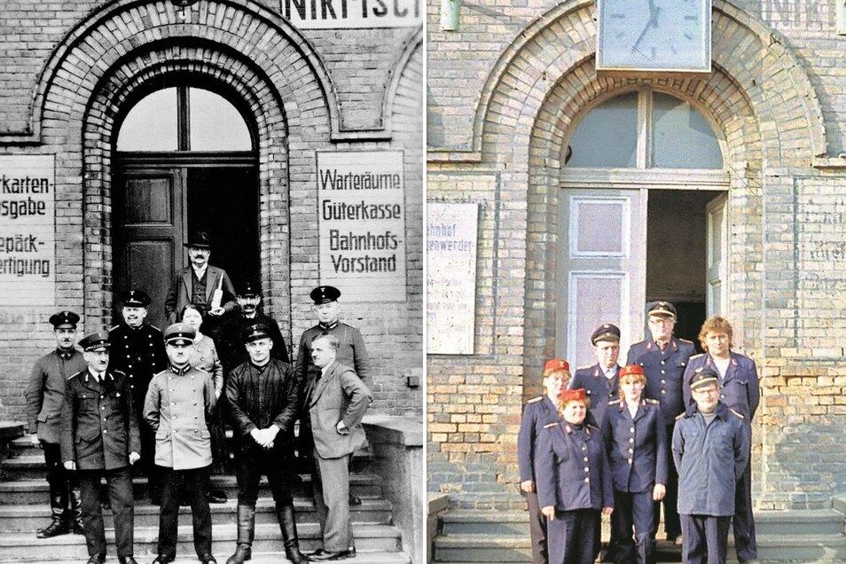 Das Bahnpersonal wurde 1935 vor dem Empfangsgebäude fotografiert. Damals gab es neue Uniformen, während die alten Zweireiher noch getragen werden durften. Rechts: Personal 1985. Da war sogar die alte Aufschrift Nikrisch noch gut lesbar.