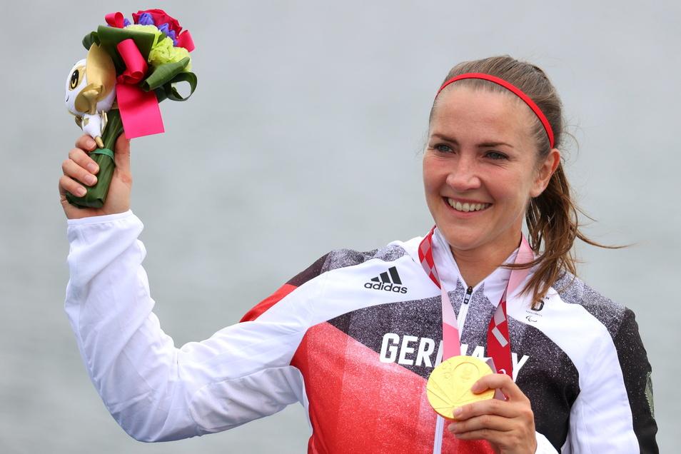 Diesmal im Kanu-Sprint siegreich; Edina Müller. Vor neun Jahren gehörte sie zum Team der Rollstuhl-Basketballerinnen, die in London Gold gewannen.