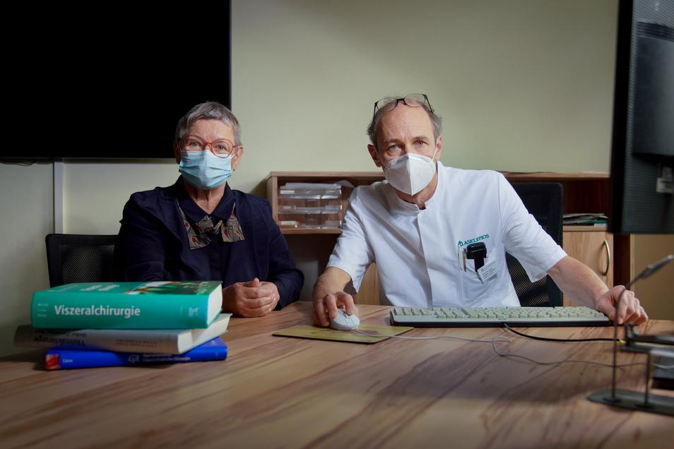 Keine Angst vor einer Corona-Ansteckung: Bei Burgunde Schöne wurde Krebs diagnostiziert. Prof. Steffen Pistorius hat sie vergangenes Jahr während der Pandemie in der Radeberger Klinik behandelt.