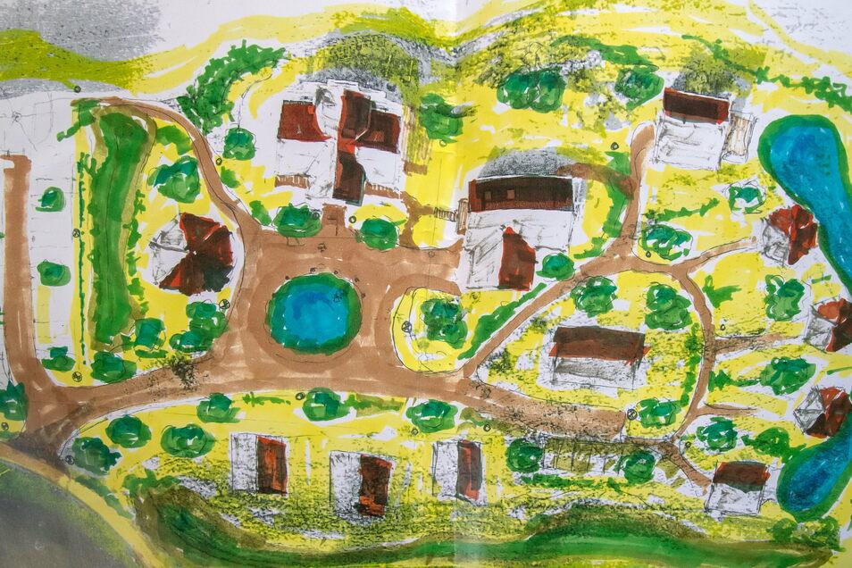 So soll der Traditionshof in Zukunft aussehen. Mehrere Blockholzhäuser als Unterkünfte und ein zentraler Platz mit einem Teich. Die Häuser werden mit eigener Solarenergie versorgt und der längliche Teich rechts gewährleistet die Löschwasserversorgung.