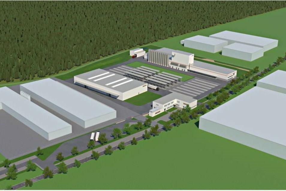 So sieht der neue Produktionsstandort der Firma Bauder in Schwepnitz auf den Plänen aus.