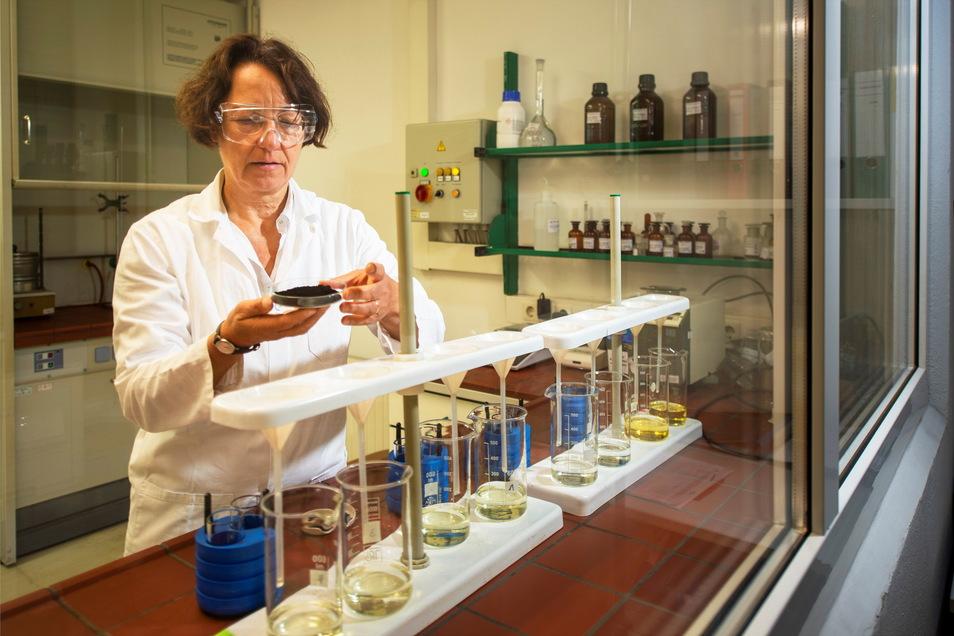 Einer der wichtigen Rohstoffe für das Pharmawerk Weinböhla sind Huminsäuren. Karin Beck-Piotraschke, promovierte Diplom-Chemikerin und Leiterin der Qualitätskontrolle, prüft im Labor die Qualität der Rohhuminsäuren.