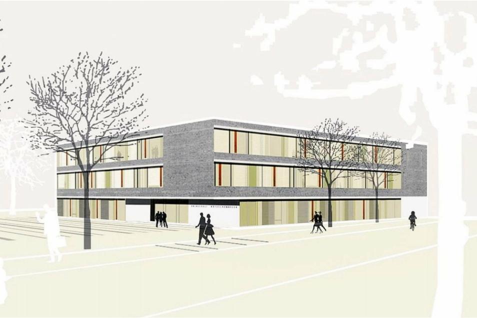 Wie in dem Entwurf von Architekt Michael Auerbacher, dem Sieger des Wettbewerbs, soll die neue Oberschule einmal aussehen.