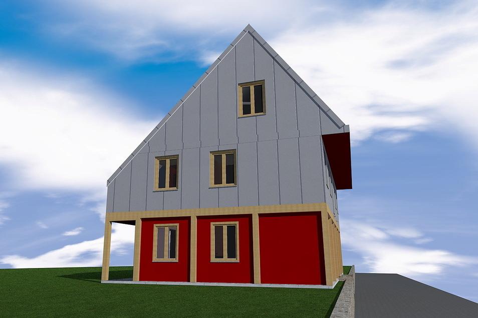 Mit seiner speziellen Optik soll sich das Holzhaus im Kleinhennersdorf an die einst im Ort weit verbreiteten denkmalgeschützten Umgebindehäuser anpassen. Im September soll es fertig werden. Visualisierung: Matthias Könitz