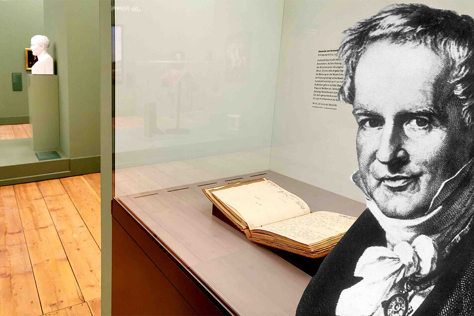 Naturforscher Alexander von Humboldt und eines seiner Tagebücher, das auf der Festung Königstein gezeigt wird.