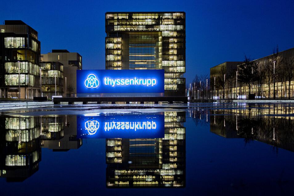 Blick auf die Konzernzentrale von Thyssenkrupp in Essen.