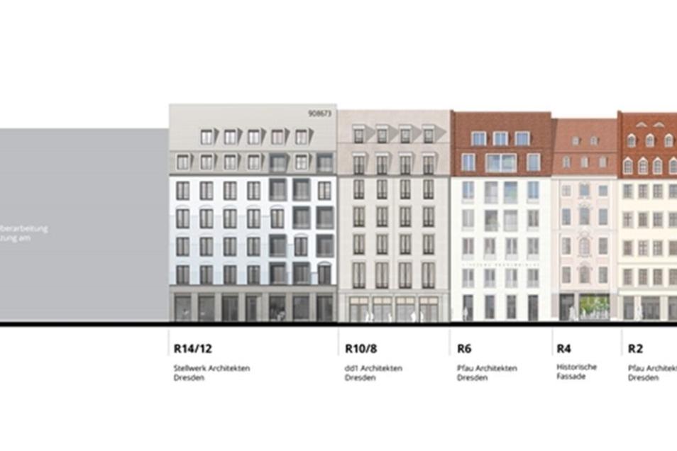 So sehen die Fassaden entlang der Rampischen Straße aus. Das Palais Riesch (l.) ist noch offen. Rekonstruiert wird die Rampische Straße 4.