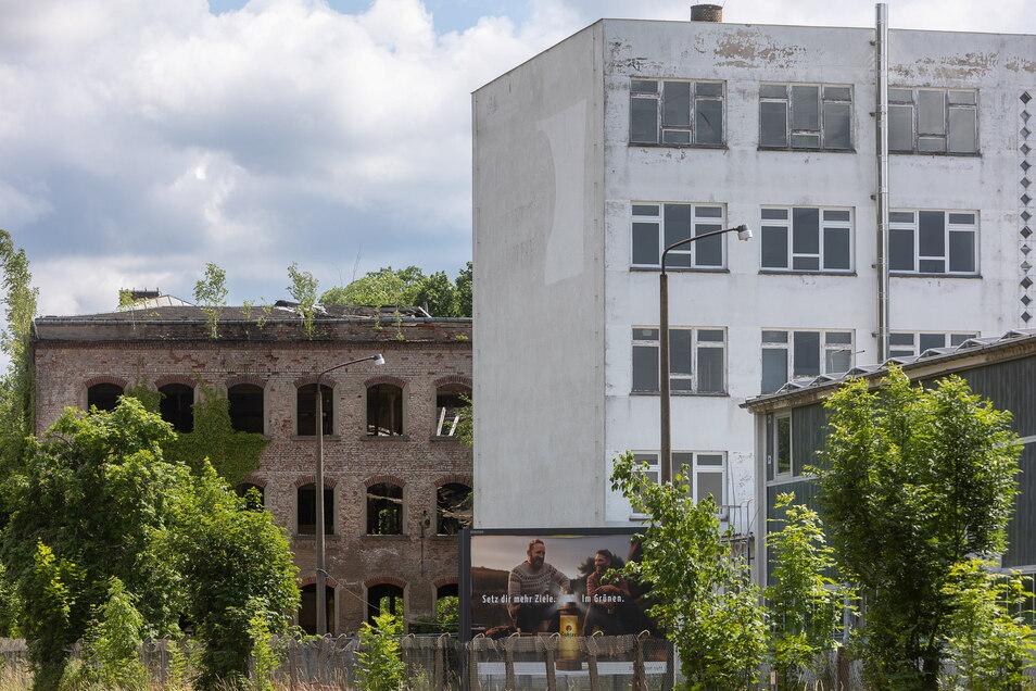 Das Gelände der ehemaligen Hydraulik in Dipps. Die Ruine im Hintergrund soll abgerissen werden und einem Aldi-Markt Platz machen. Das Verwaltungsgebäude vorne könnte ein Fitnesscenter werden.