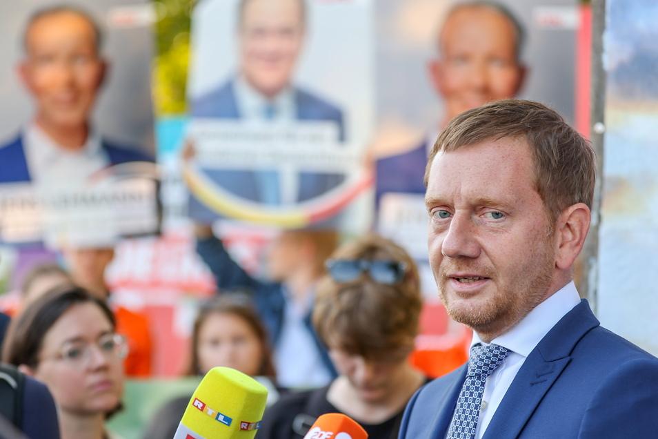 Michael Kretschmer (CDU) am Freitag in Taucha.