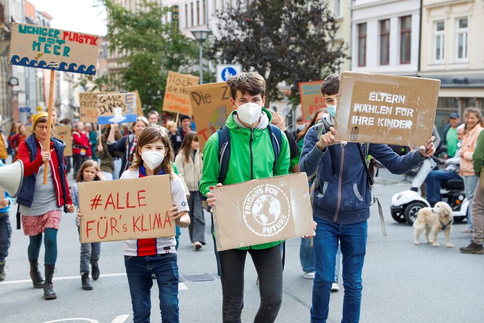 In Zittau wurde heute für bessere Maßnahmen gegen den Klimawandel demonstriert.