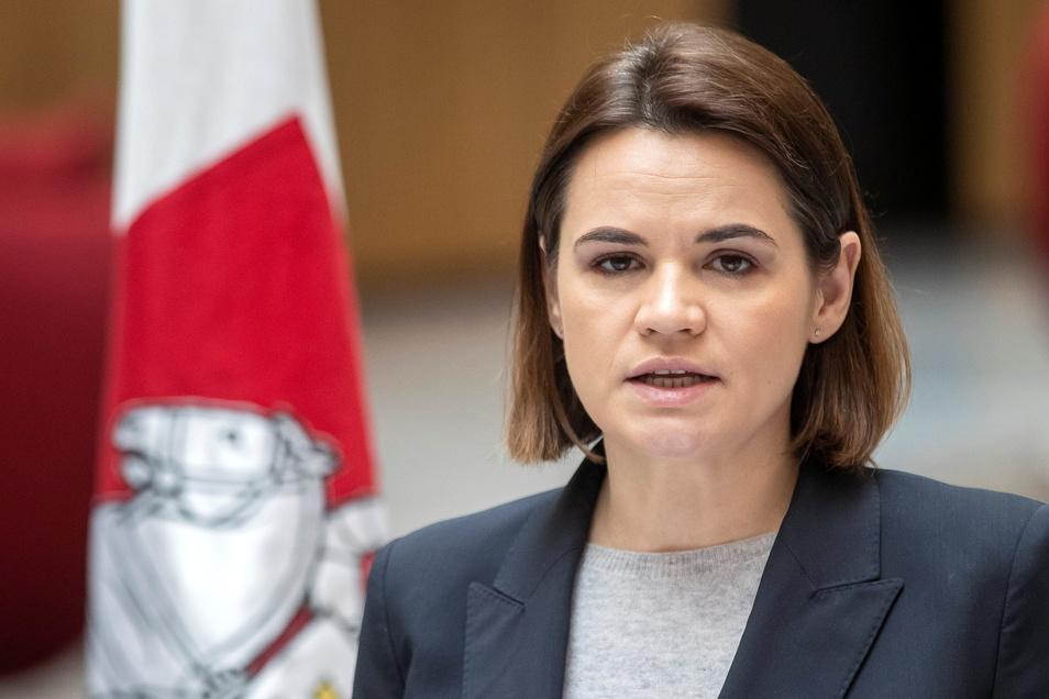 Swetlana Tichanowskaja, belarussische Oppositionsführerin, ruft zu Protest-Demos auf.